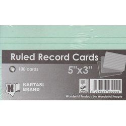 Ruled Record Cards 5x3 Green