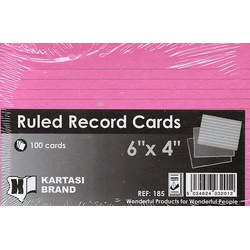 Ruled Record Cards 6x4 Pink