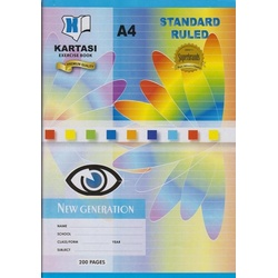 Exercise books 200 pages Kartasi Brand A4 Single Line Manila Cover