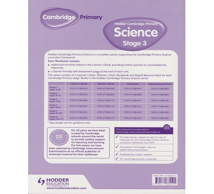 Hodder Cambridge Primary Science Work Book Stage 3