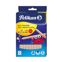 Pelikan Colour Pencil Triangular 12s Full Size thick wood 700047