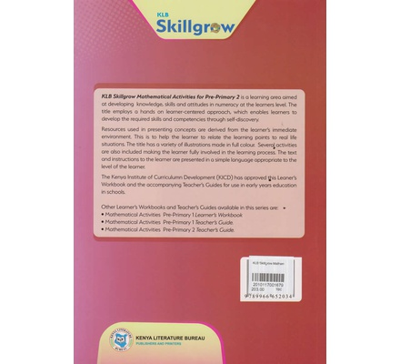KLB Skillgrow Mathematical Activities Pre-Primary Learner's Workbook 2