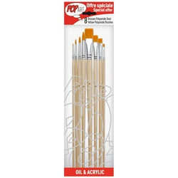 Pebeo 950250 Brush 8s Yellow Polyamid 4round/4flat