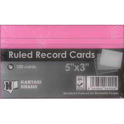 Ruled Record Cards 5x3 Pink