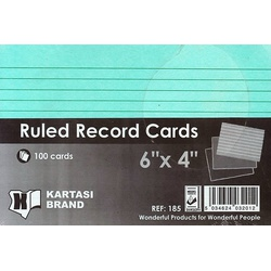 Ruled Record Cards 6x4 Green