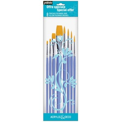 Pebeo Brush 951160 8s Poly Yellow 4flat+4round