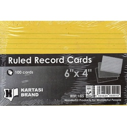 Ruled Record Cards 6x4 Yellow