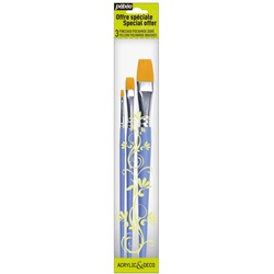 Pebeo Brush 951120 3s Poly Yellow flat No. 4,10&18