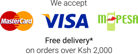 We accept M-Pesa, Visa and Mastercard