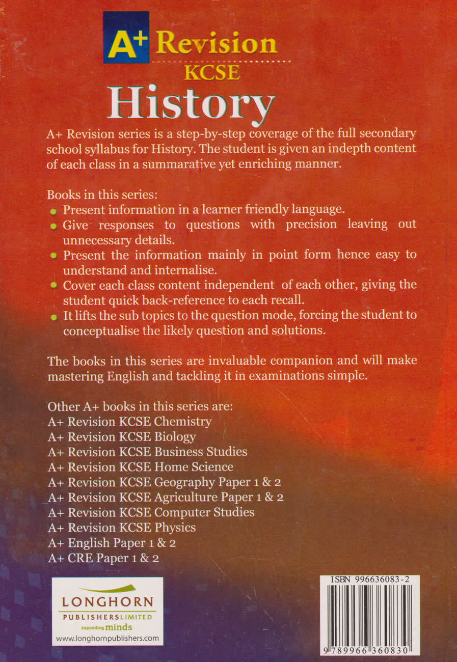 A+ Revision KCSE History | Books, Stationery, Computers, Laptops and more   Buy online and get free delivery on orders above Ksh  2,000  Much more than