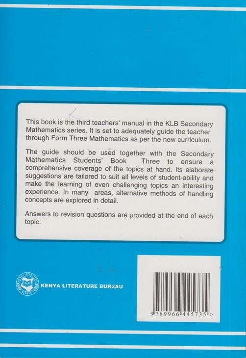 Secondary Maths Form 3 Teachers\' guide KLB | Text Book Centre