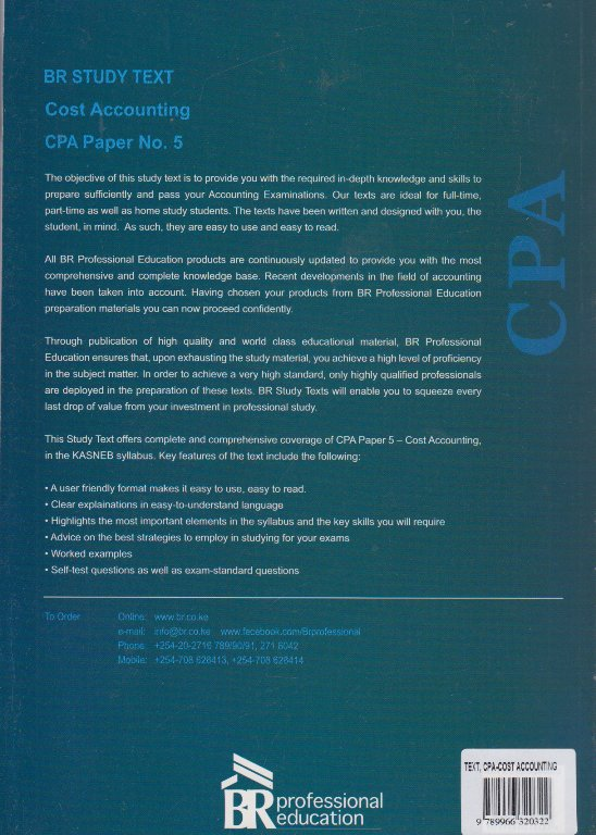 CPA Cost accounting paper No 5 (BR Study text)   Books, Stationery,  Computers, Laptops and more  Buy online and get free delivery on orders  above Ksh