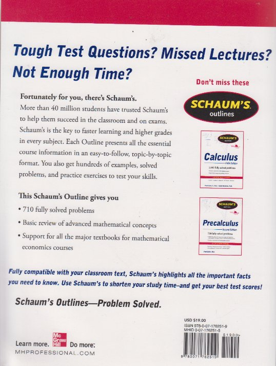 Schaum's Outline of Introduction to Mathematical Economics ...