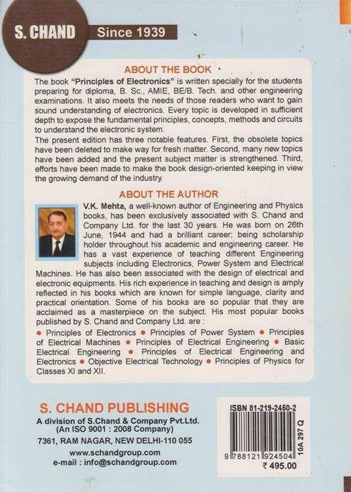 Principles of Electronics by V.K. Mehta and Rohit Mehta Pdf-Free Download