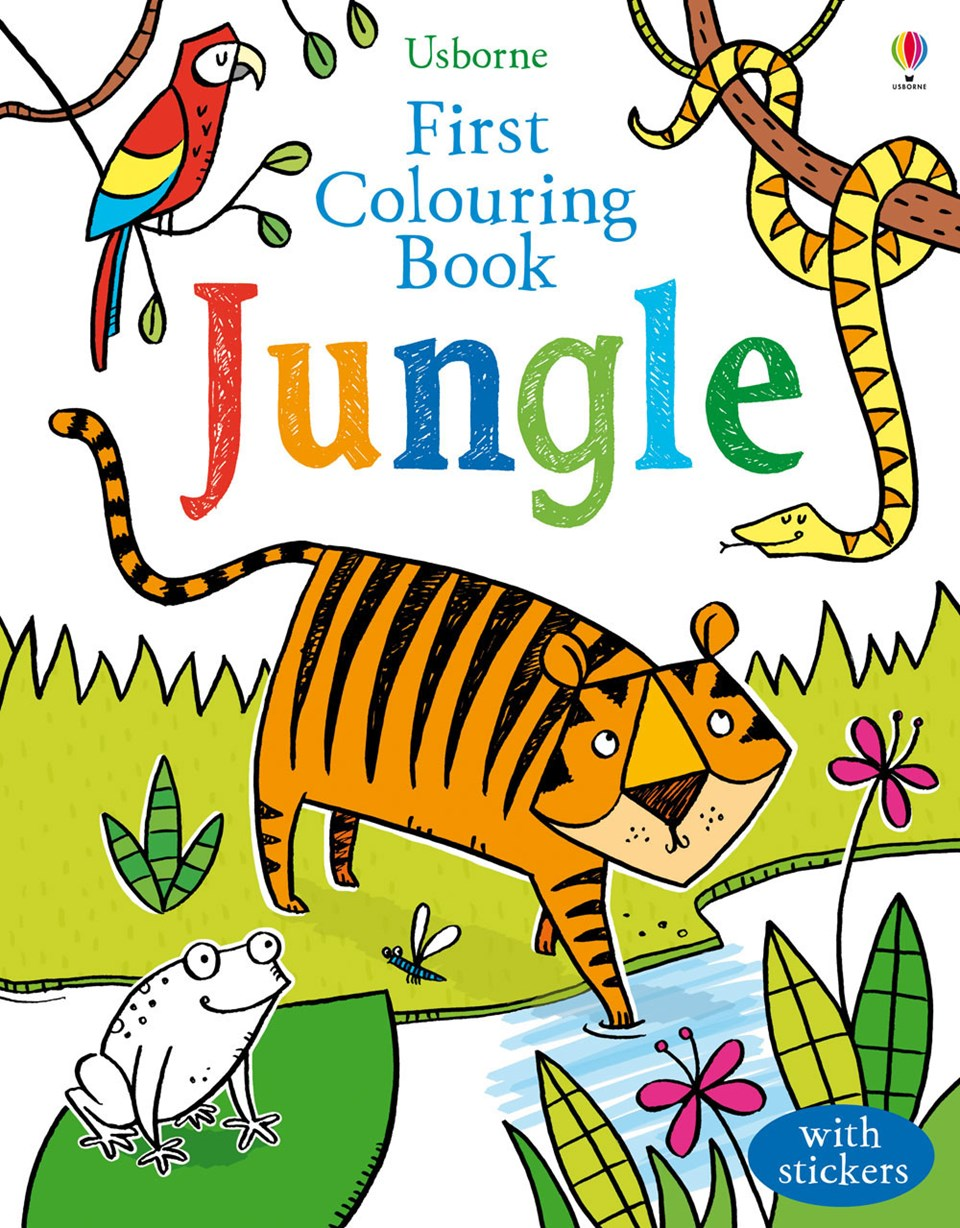 usborne first colouring book jungle with stickers - Colouring Books For Children