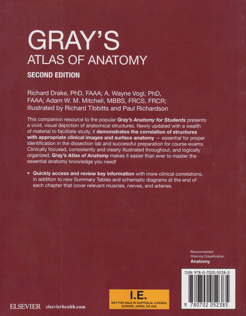 Grays Atlas Of Anatomy Text Book Centre