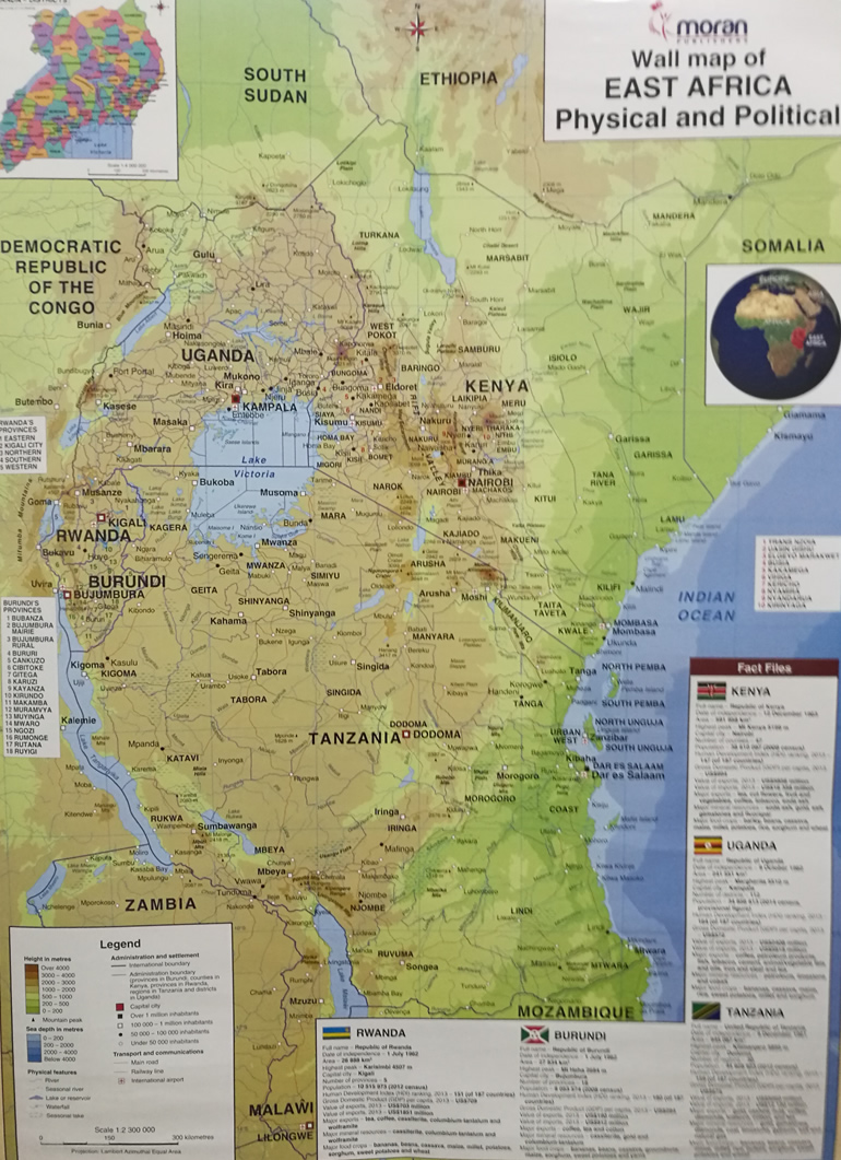 Moran Wall Map Of East Africa Political Physical Text Book Centre