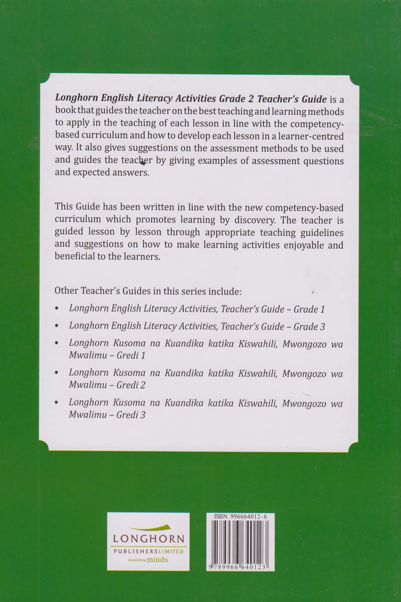 Longhorn English Literacy Grade 2 Teacher's Guide (Approved) | Books,  Stationery, Computers, Laptops and more  Buy online and get free delivery  on