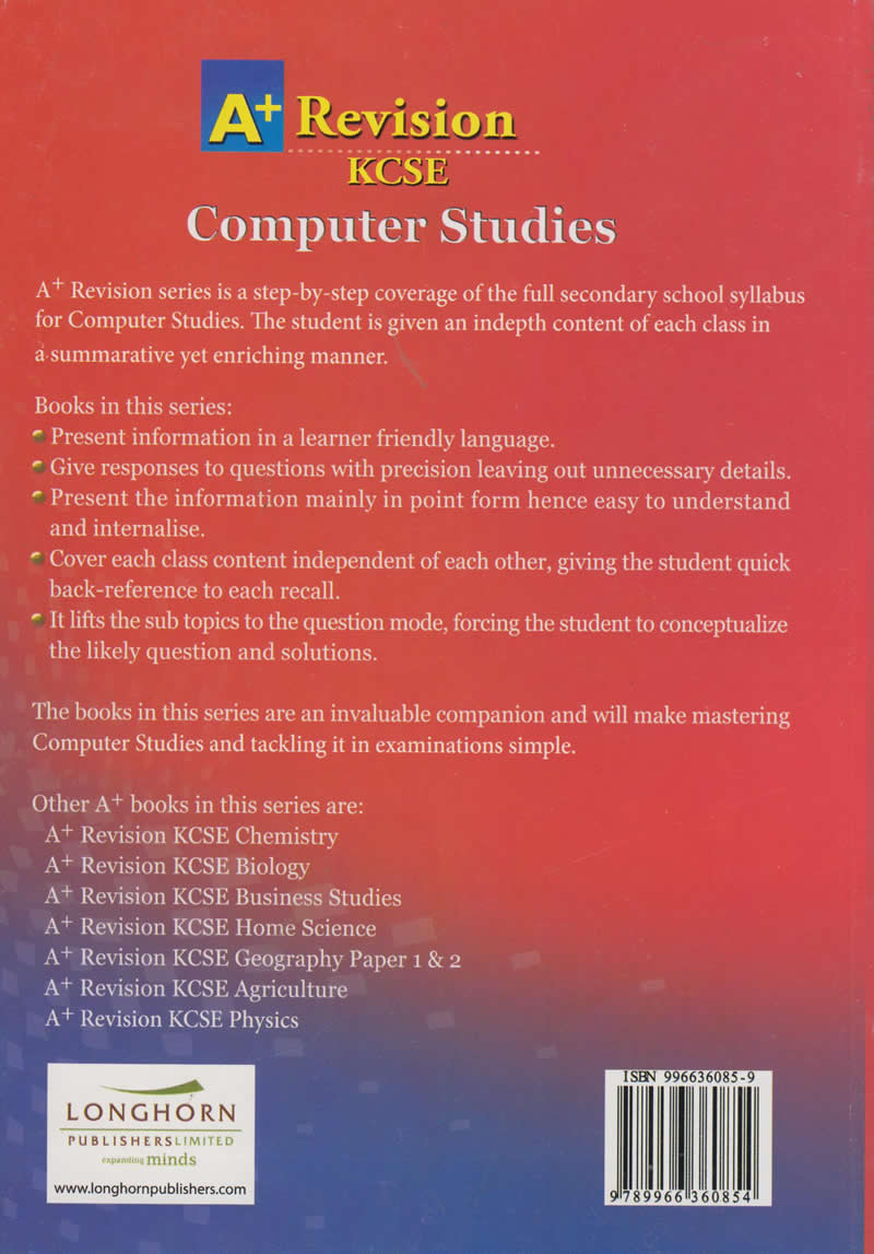 A+ Revesion KCSE Computer Studies Question and Answers | Books, Stationery,  Computers, Laptops and more  Buy online and get free delivery on orders