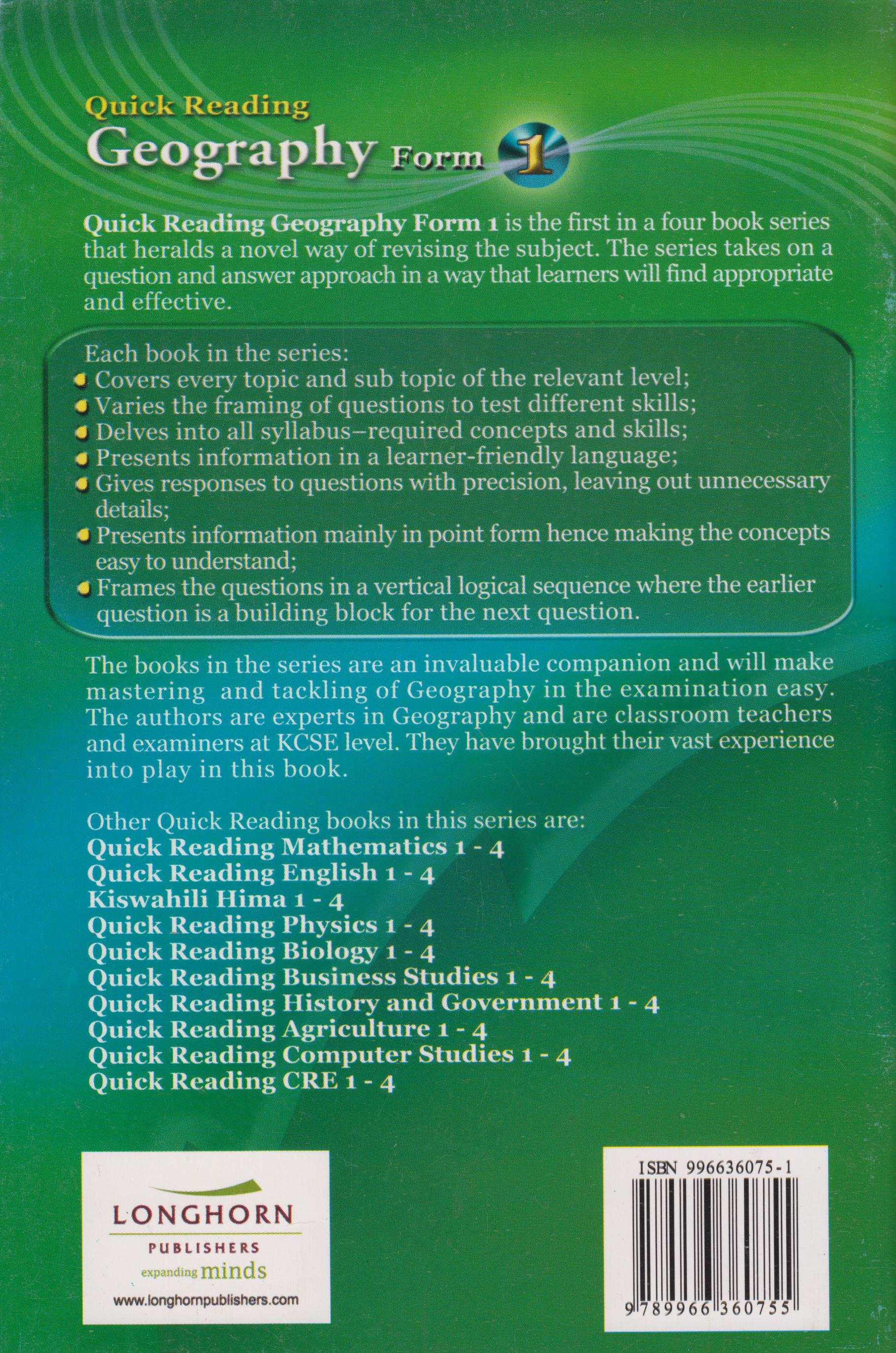 Quick Reading Geography Form 1 | Text Book Centre