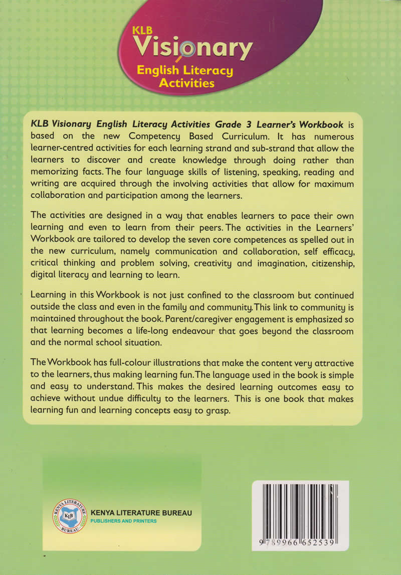 KLB Visionary English Literacy Activities Learner's Workbook Grade 3 |  Books, Stationery, Computers, Laptops and more  Buy online and get free